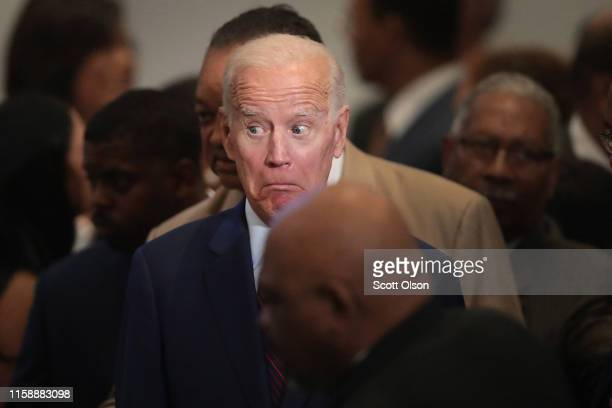 Democratic presidential candidate former Vice President Joe Biden attends the Rainbow PUSH Coalition Annual International Convention on June 28 2019...