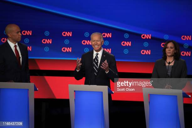 Democratic presidential candidate former Vice President Joe Biden speaks while Sen Kamala Harris and Sen Cory Booker listen during the Democratic...