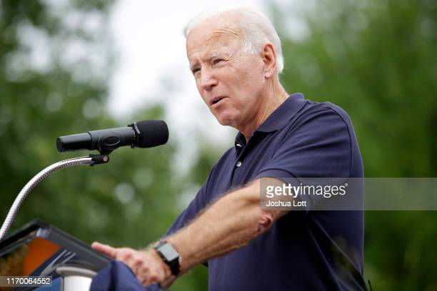 Democratic presidential candidate former Vice President Joe Biden speaks during the Democratic Polk County Steak Fry on September 21 2019 in Des...