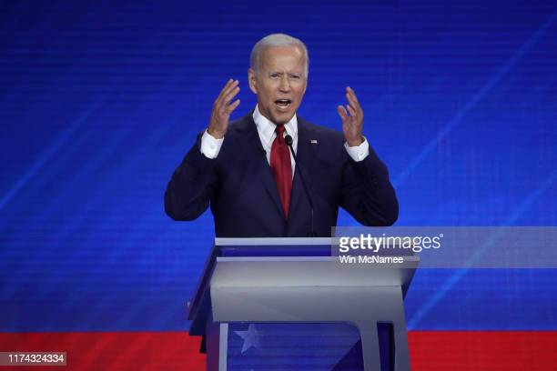 Democratic presidential candidate former Vice President Joe Biden speaks during the Democratic Presidential Debate at Texas Southern University's...