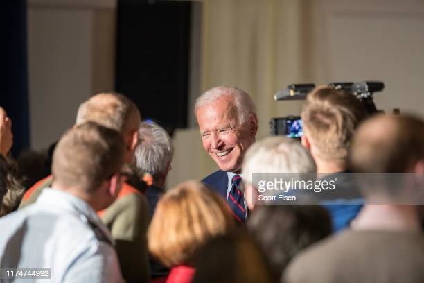 Democratic presidential candidate former Vice President Joe Biden greets supporters following a campaign event on October 9 2019 in Rochester New...