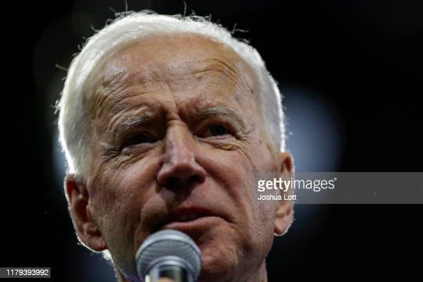 Democratic presidential candidate former Vice President Joe Biden speaks during the Iowa Democratic Party Liberty Justice Celebration on November 1...