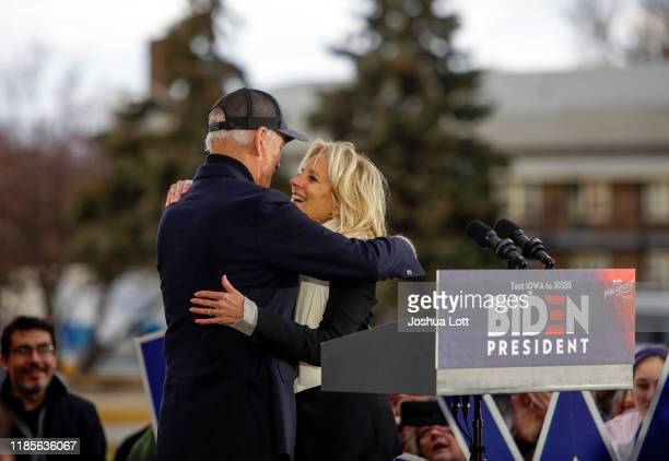 Democratic presidential candidate, former Vice President Joe Biden hugs his wife Jill Biden after she introduces him during a campaign event on...