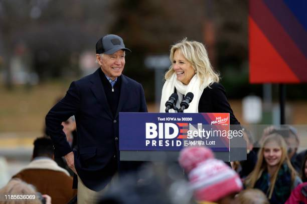 Democratic presidential candidate, former Vice President Joe Biden stands with his wife Jill Biden as she introduces him during a campaign event on...