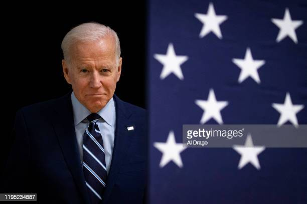 Democratic presidential candidate former Vice President Joe Biden arrives during an event at Iowa Central Community College on January 21 2020 in...