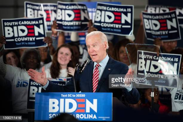 Democratic presidential candidate former Vice President Joe Biden addresses the crowd during a South Carolina campaign launch party on February 11,...