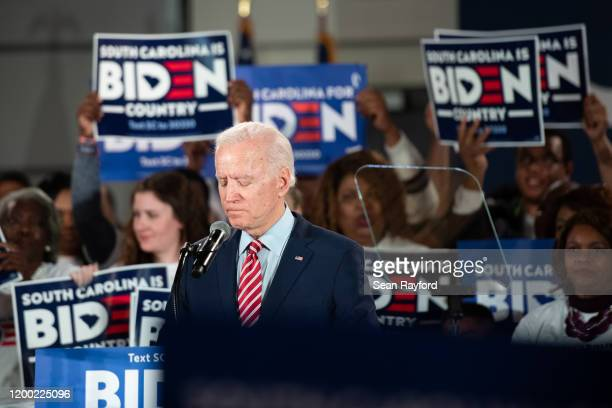 Democratic presidential candidate former Vice President Joe Biden addresses the crowd during a South Carolina campaign launch party on February 11...