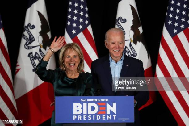 Democratic presidential candidate former Vice President Joe Biden addresses supporters with his wife Dr. Jill Biden during his caucus night watch...