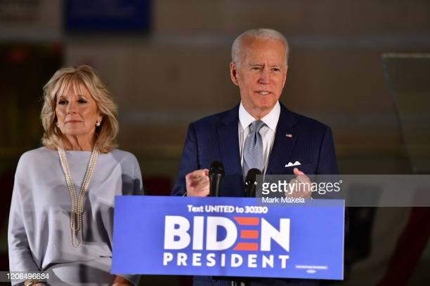 Democratic Presidential candidate former Vice President Joe Biden addresses the media and a small group of supporters with his wife Dr Jill Biden...