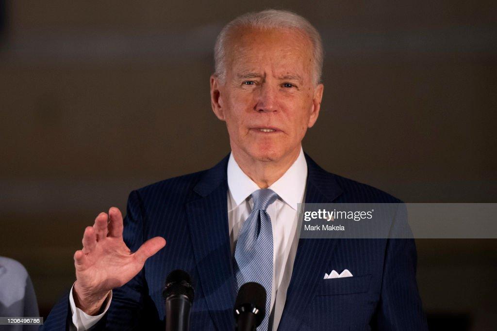 Presidential Candidate Joe Biden Makes Primary Night Remarks In Philadelphia : News Photo