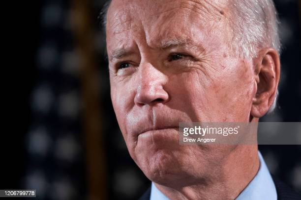 Democratic presidential candidate former Vice President Joe Biden delivers remarks about the coronavirus outbreak at the Hotel Du Pont March 12 2020...