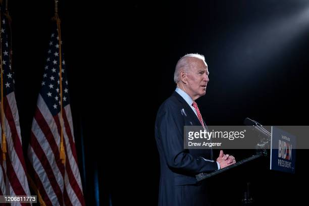 Democratic presidential candidate former Vice President Joe Biden delivers remarks about the coronavirus outbreak, at the Hotel Du Pont March 12,...