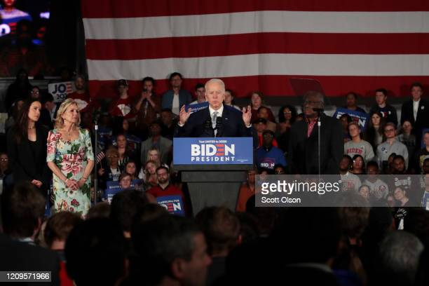 Democratic presidential candidate former Vice President Joe Biden with wife Jill and daughter Ashley and Rep Jim Clyburn speaks at his primary night...