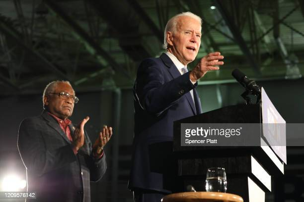 Democratic presidential candidate former Vice President Joe Biden with Rep Jim Clyburn speaks on stage after declaring victory in the South Carolina...