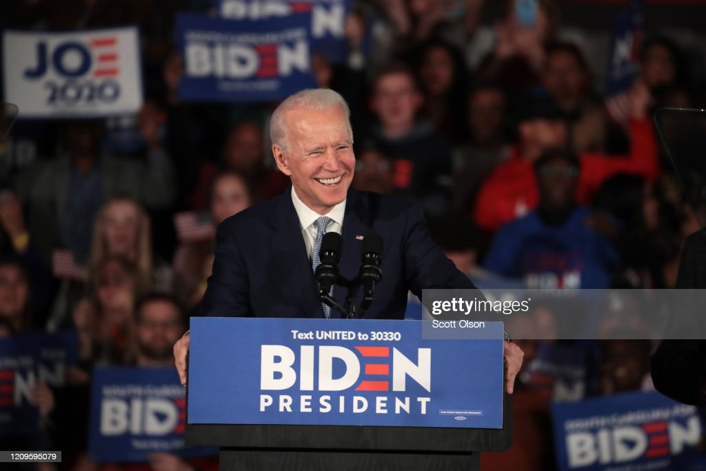 Democratic Presidential Candidate Joe Biden Holds South Carolina Primary Night Event In Columbia : News Photo
