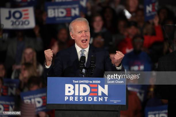 Democratic presidential candidate former Vice President Joe Biden celebrates with his supporters after declaring victory at an election-night rally...