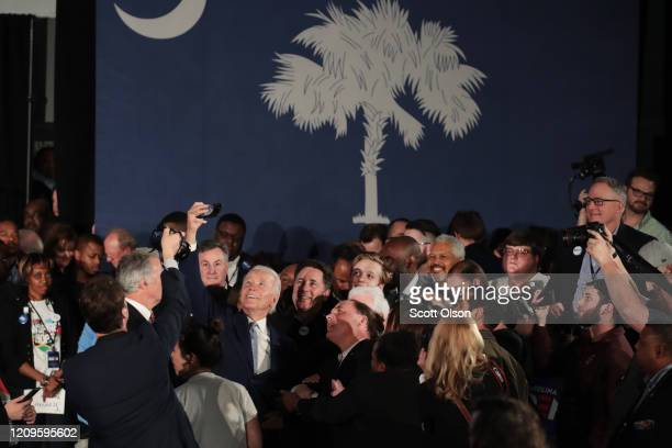Democratic presidential candidate former Vice President Joe Biden celebrates with his supporters after declaring victory at an electionnight rally at...