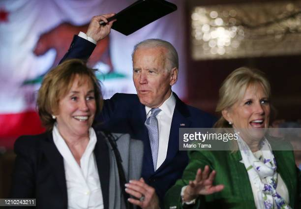 Democratic presidential candidate former Vice President Joe Biden arrives with wife Jill Biden and sister Valerie Biden Owens at a Super Tuesday...