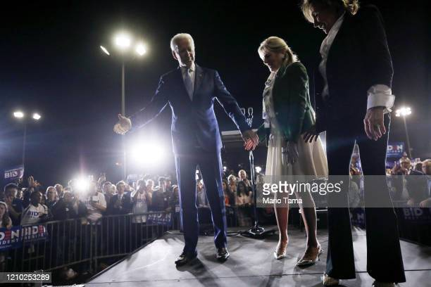 Democratic presidential candidate former Vice President Joe Biden departs the stage with wife Jill and sister Valerie at a Super Tuesday campaign...