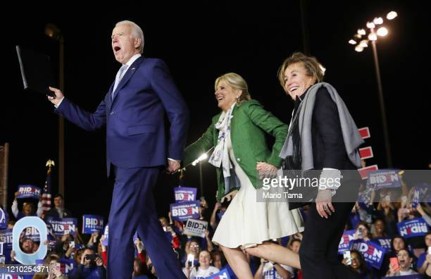 Democratic presidential candidate former Vice President Joe Biden arrives with wife Jill and sister Valerie at a Super Tuesday campaign event at...