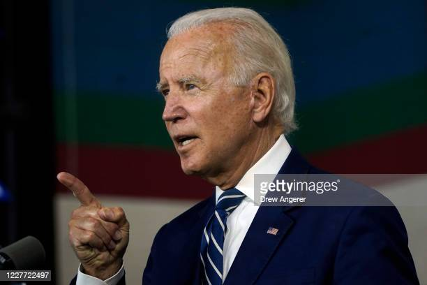 Democratic presidential candidate former Vice President Joe Biden speaks about economic recovery during a campaign event at Colonial Early Education...
