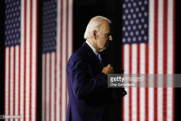 Democratic presidential candidate former Vice President Joe Biden leaves after speaking at the Chase Center July 14, 2020 in Wilmington, Delaware....