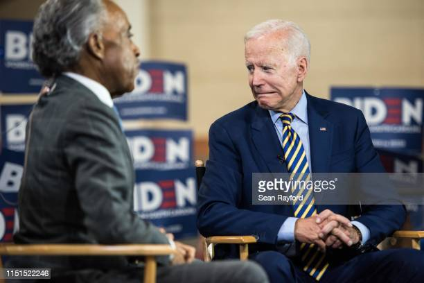 Democratic presidential candidate former Vice President Joe Biden looks to his supporters after a television interview with Al Sharpton during the...