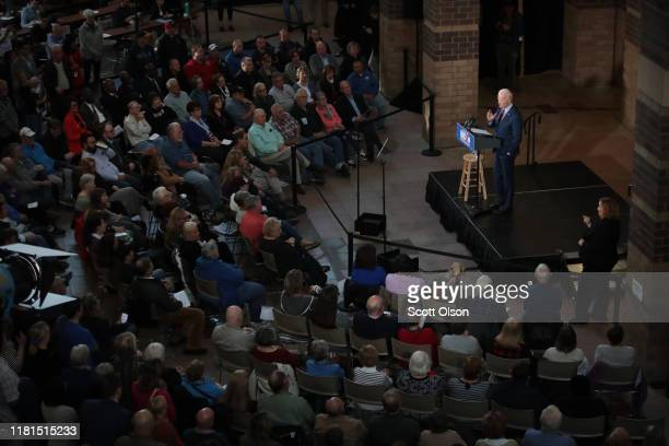 Democratic Presidential candidate former vice president Joe Biden speaks to guests during a campaign stop at the RiverCenter on October 16 2019 in...
