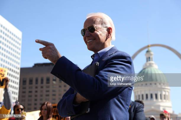 Democratic presidential candidate former Vice President Joe Biden waits to take the stage at a campaign rally at Kiener Plaza on March 7 2020 in St...