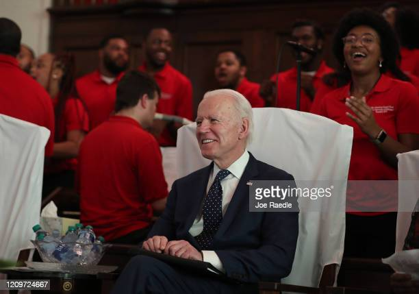 Democratic presidential candidate former Vice President Joe Biden waits to be introduced to speak during a worship event at the Brown Chapel AME...