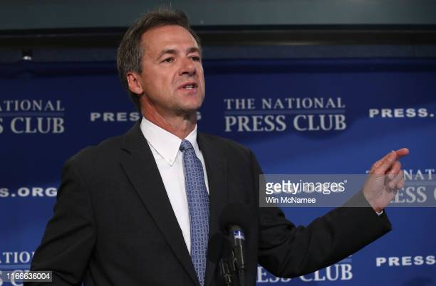 Democratic presidential candidate Gov. Steve Bullock speaks during a press conference August 7, 2019 in Washington, DC. Bullock held the press...