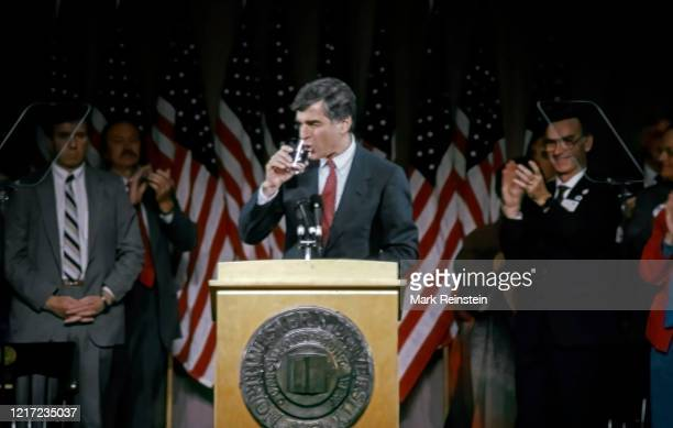 Democratic Presidential candidate Governor of Massachusetts Michael Dukakis speaking at Northwestern University, Evanston Illinois, October 4, 1988