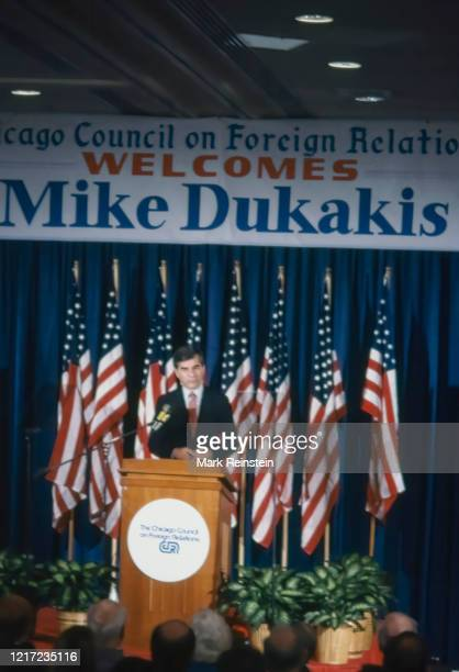 Democratic Presidential candidate Governor of Massachusetts Michael Dukakis speaking at the Chicago Council of Foreign Relations, Chicago Illinois,...