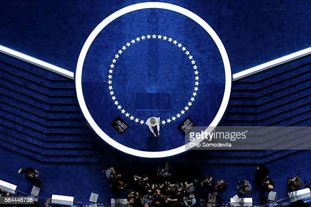 Democratic presidential candidate Hillary Clinton acknowledges the crowd as she arrives on stage during the fourth day of the Democratic National...