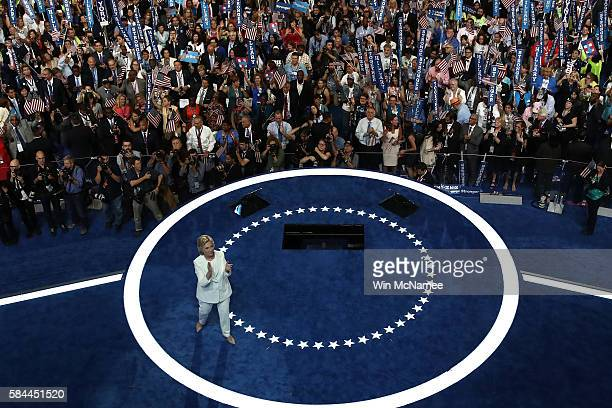 Democratic presidential candidate Hillary Clinton acknowledges the crowd after delivering a speech on the fourth day of the Democratic National...