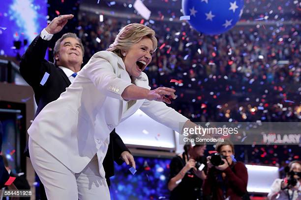 Democratic presidential candidate Hillary Clinton acknowledges the crowd at the end on the fourth day of the Democratic National Convention at the...