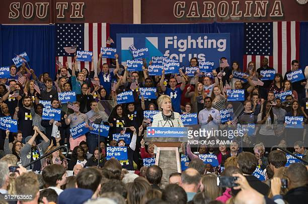 US Democratic presidential candidate Hillary Clinton addresses a primary night rally in Columbia South Carolina on February 27 following her sweeping...