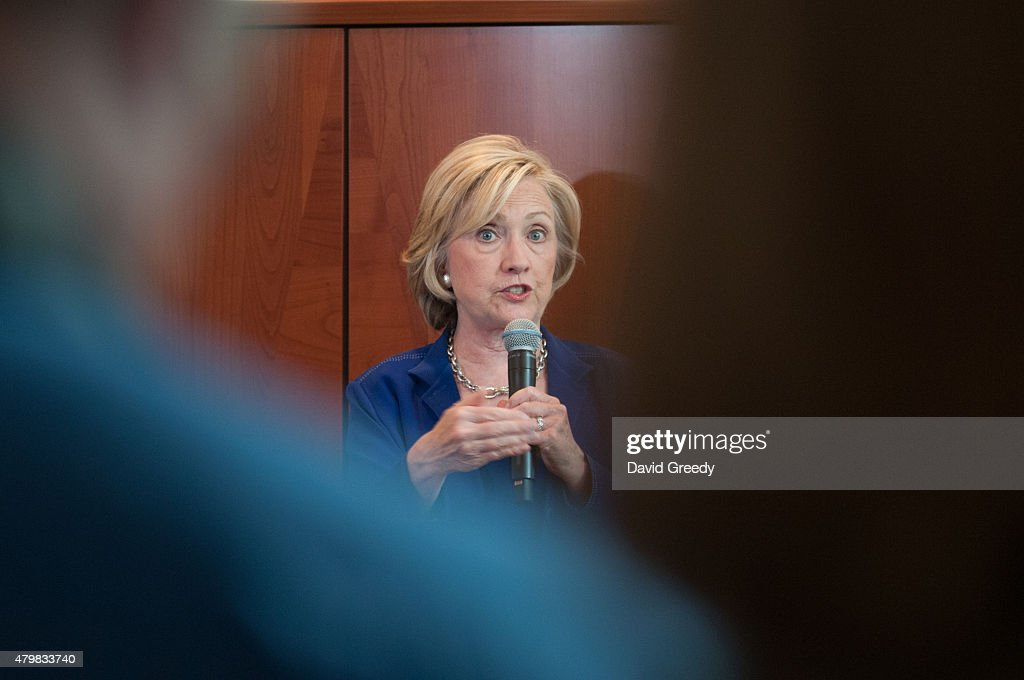 Democratic presidential candidate Hillary Clinton addresses supporters at an organizational rally at the home of Nancy and Dennis Emanuel on July 7, 2015 in Ottumwa, Iowa. Clinton's second stop of the day in Iowa provided the 60 people in attendence with an opportunity to hear from the former Senator and Secretary of State about her platform for her run the office of President of the United States.