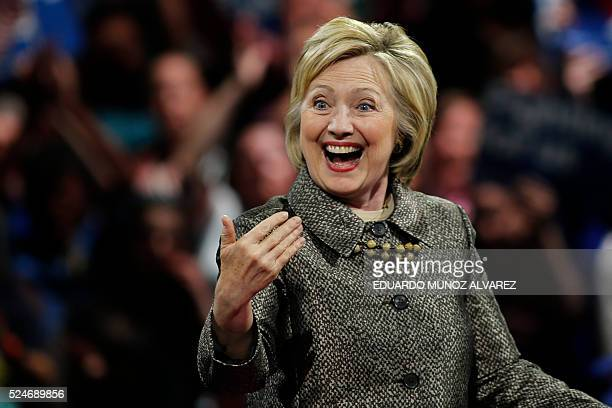 TOPSHOT Democratic presidential candidate Hillary Clinton addresses supporters during a primary night event on April 26 2016 in Philadelphia after...