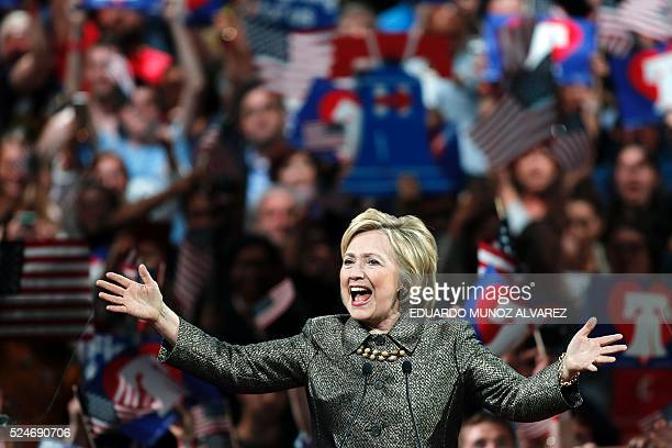 Democratic presidential candidate Hillary Clinton addresses supporters during a primary night event on April 26 2016 in Philadelphia after winning...