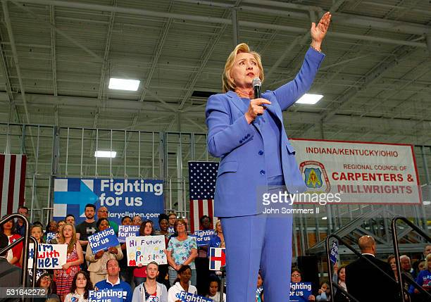 Democratic presidential candidate Hillary Clinton addresses the crowd during a campaign stop at the Union of Carpenters and Millwrights Training...