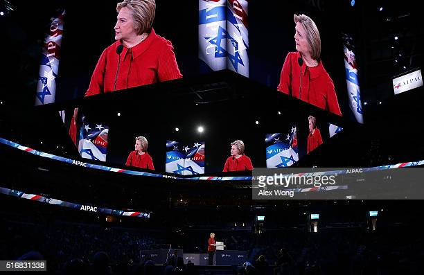 Democratic presidential candidate Hillary Clinton addresses the annual policy conference of the American Israel Public Affairs Committee March 21...