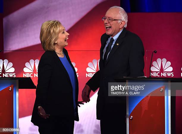 Democratic presidential candidate Hillary Clinton and Democratic presidential candidate Sen Bernie Sanders IVtduring the NBC News YouTube Democratic...