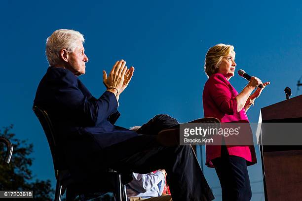 Democratic Presidential candidate Hillary Clinton and her husband former President Bill Clinton appear at a campaign event July 29 2016 in Harrisburg...