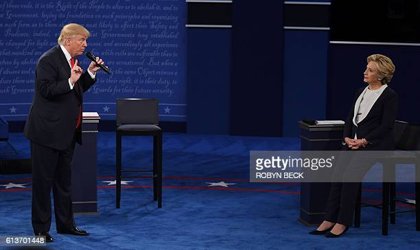 Democratic presidential candidate Hillary Clinton and US Republican presidential candidate Donald Trump debate during the second presidential debate...