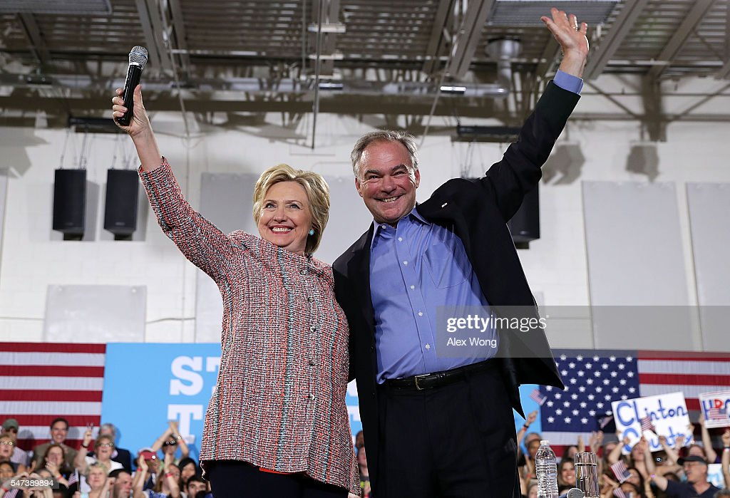 Hillary Clinton Campaigns With Tim Kaine In Virginia : News Photo