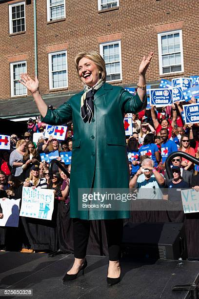 US Democratic Presidential candidate Hillary Clinton appears at a campaign rally at Market Square in Alexandria Virginia