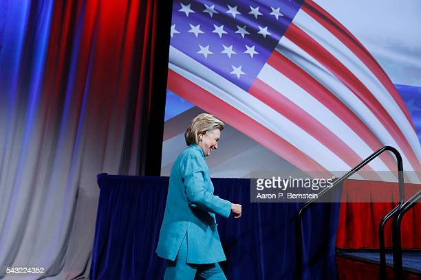 Democratic presidential candidate Hillary Clinton arrives at the U.S. Conference of Mayors June 26, 2016 in Indianapolis, Indiana. Clinton discussed...