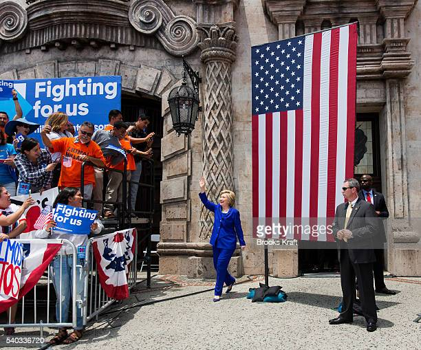 Democratic presidential candidate Hillary Clinton arrives for a campaign rally at La Fachada Plaza Mexico June 6 2016 in Lynwood CA