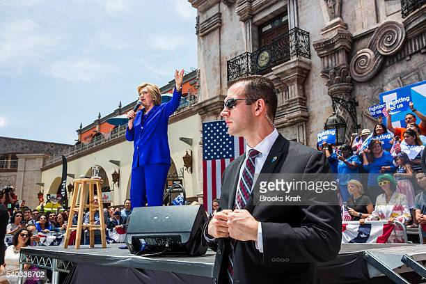 Democratic presidential candidate Hillary Clinton attends a campaign rally at La Fachada Plaza Mexico as Secret Service watch June 6 2016 in Lynwood...